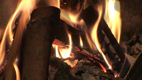 Seamless fireplace burning flames one Stock Video Footage