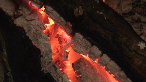 Fireplace burning wood log two, close-up Footage