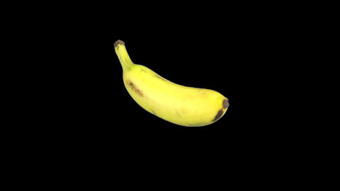 Rotating banana endless loop ALPHA matte 1 Stock Video Footage