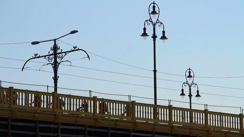 On the Bridge People Silhouettes Stock Video Footage
