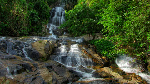 Tropical waterfall timelapse Footage