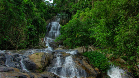 Tropical waterfall timelapse Stock Video Footage