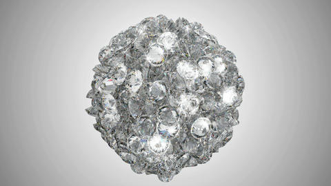 Diamonds orb blast or scatter over studio light background. Alpha channel is included Animation