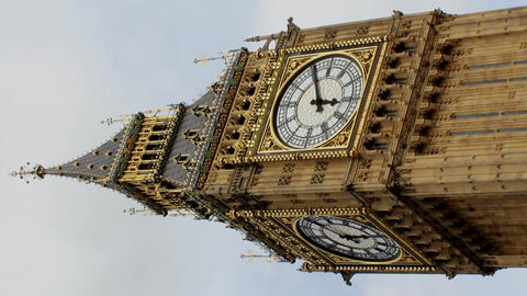 Big Ben in London in a horizontal position Footage