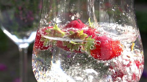 Mineral Water with Strawberries Footage