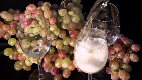 Sparkling Wine Pouring into a Glass Footage