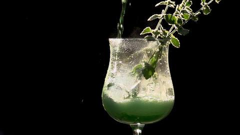 Bright Green Mint Drink Footage