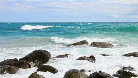 Surf among the rocks Footage