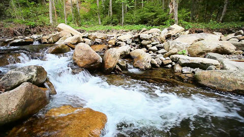 Cascades on the small river - horizontal movement Footage