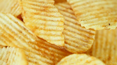 Potato chips. close-up - rotation Footage