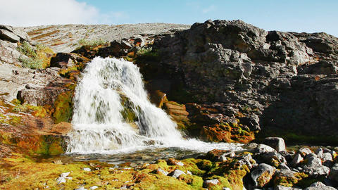 Waterfall. Russia. Khibiny Mountains Footage