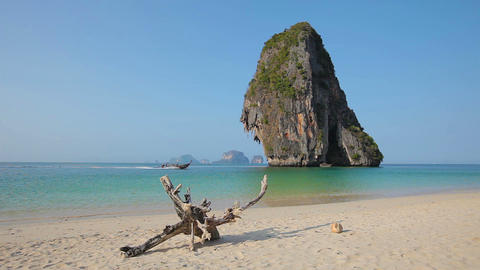 Tropical beach with wooden boat. Railay. Thailand Footage