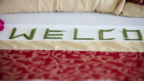 Caption - Welcome on the bed in hotel Footage