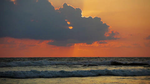 Sunset over the ocean waves Footage