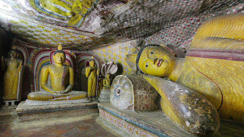 Reclining Buddha statue in cave temple. Sri Lanka Footage