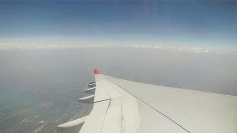 View From The Cabin Of Passenger Aircraft - Turnin stock footage
