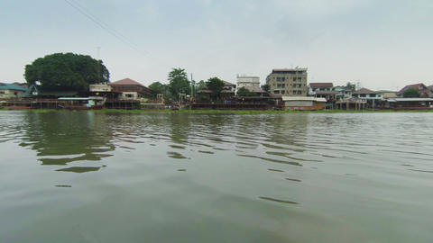 Vegetation Is Floating On The River. Thailand stock footage
