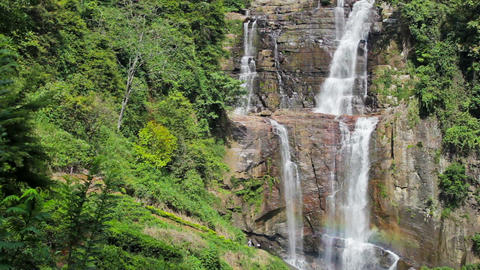 Panorama of tropical rainforest with waterfall Footage