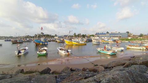Fishing boats at anchors Footage