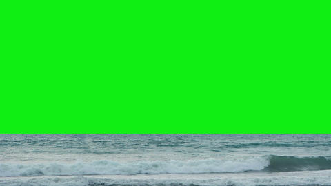 Sea Surf With Green Screen Instead Of The Sky stock footage