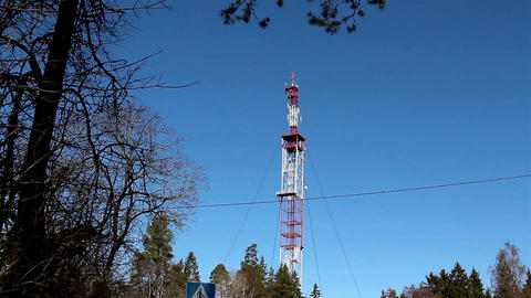 GSM mobile tower at the middle of the forest Footage