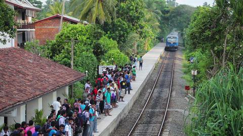 BENTOTA. SRI LANKA - APR 28: Train arrive to stati Footage