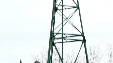 Large metal tower with the turbine on top Footage
