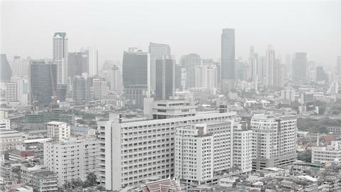 Modern city. View from above. Cloudy weather with  Footage