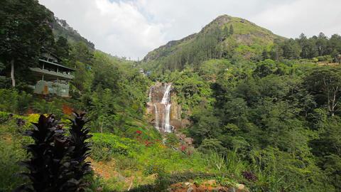 Big mountain waterfall. Sri Lanka. Nuwara Eliya. R Footage