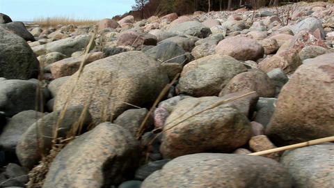 Lots of rocks along the sea coast Footage
