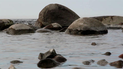 The view of the rocks from the sea Footage