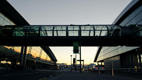 Dublin Airport Terminal At Sunset Time Lapse Footage