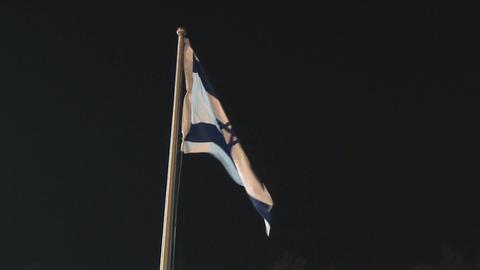 Israeli Flag at night Stock Video Footage