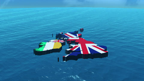 3D HD United Kingdom Map in the Sea Stock Video Footage