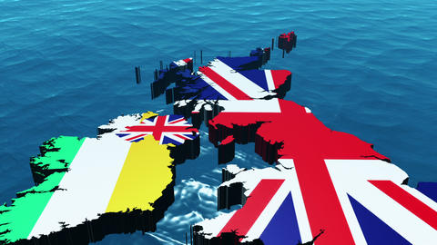 3D HD United Kingdom Map in the Sea Animation