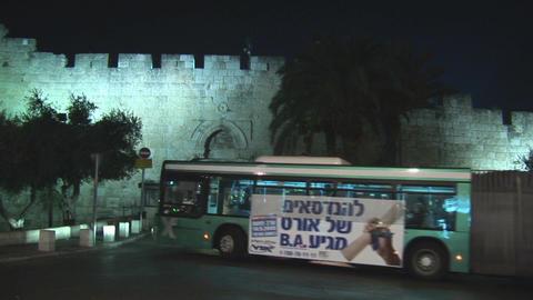 Jerusalem city bus Stock Video Footage