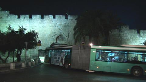 Jerusalem City Bus stock footage