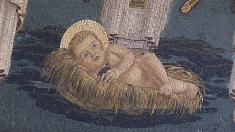 nativity mosaic Stock Video Footage