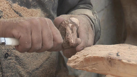 wooden souvenirs Stock Video Footage