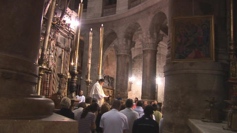 sermon in Holy Sepulcher Stock Video Footage
