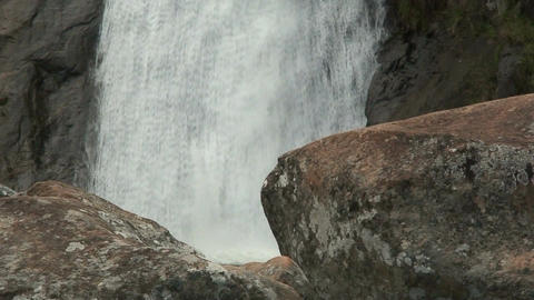Malawi: waterfall in a rock hill at noon 3 Stock Video Footage