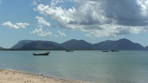 Malawi: african fishing boats in a lake 1 Stock Video Footage