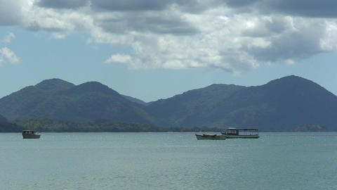 Malawi: boats on a lake Stock Video Footage