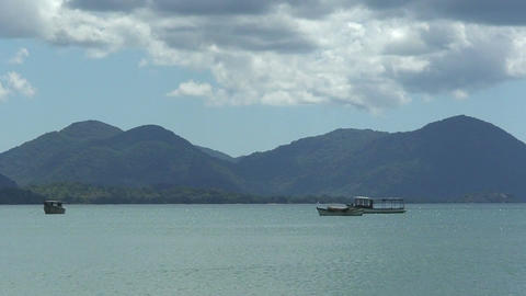 Malawi: boats on a lake Stock Video Footage