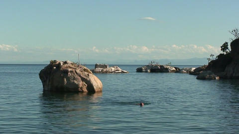 Malawi: swimming in the lake Stock Video Footage