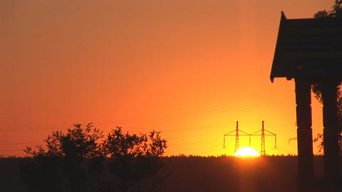 sunset power line 1 Stock Video Footage