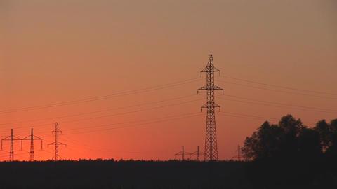 sunset power line 3 Stock Video Footage