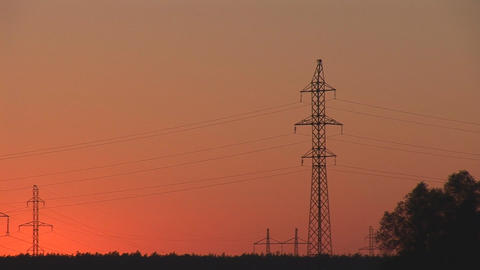 sunset power line 3 Stock Video Footage