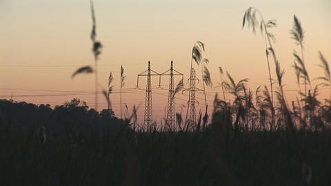 sunset power line 7 Stock Video Footage