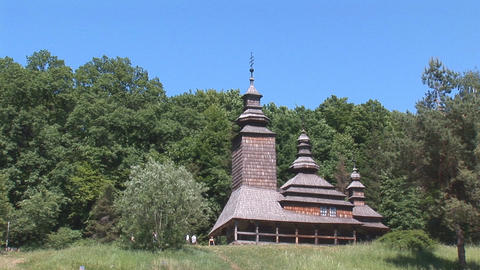 wooden church 2 Stock Video Footage